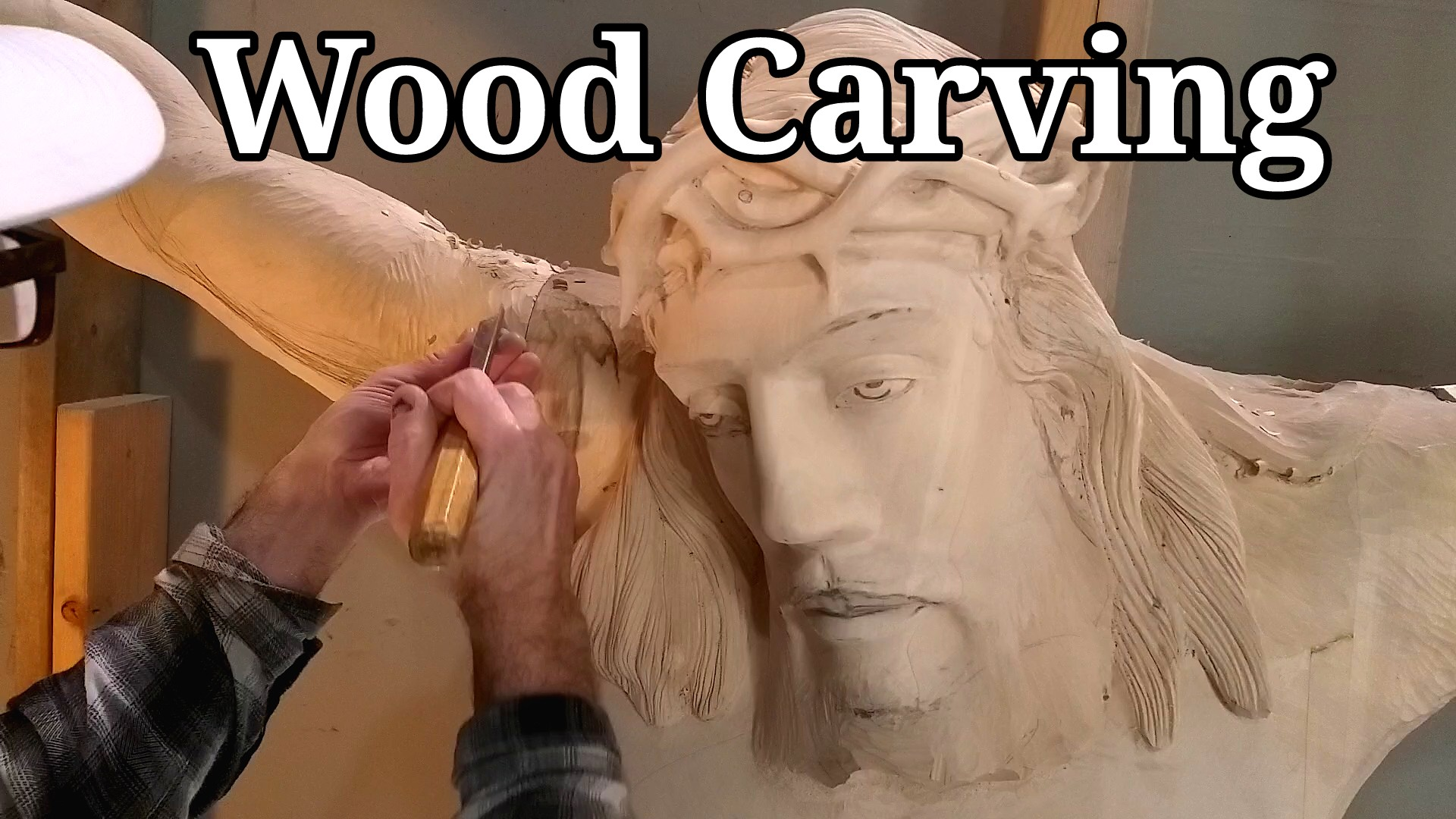 Wood carving Jesus in the cross